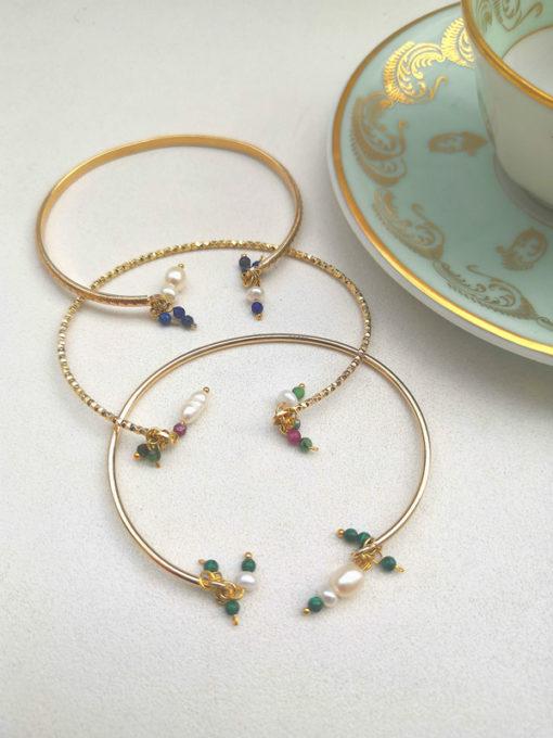bracelets joncs perles pierres or